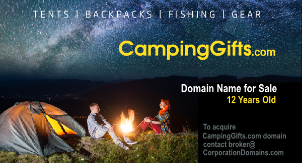 CampingGifts.com domain name for for hiking, tents, backpacks, fishing gifts