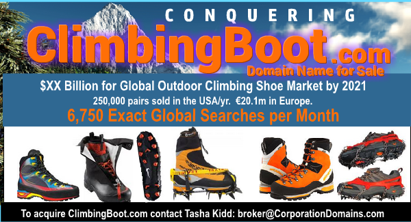 Climbing boot retail domain name for sale: ClimbingBoot.com