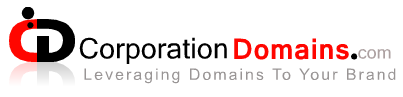 Logo for CorporationDomains.com mentioning using domain names to strengthen business brands