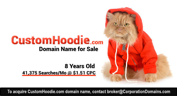 CustomHoodie.com domain name for sale in the custom hoodie apparel market