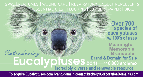 Eucalyptuses.com brand name and domain for sale for renewables