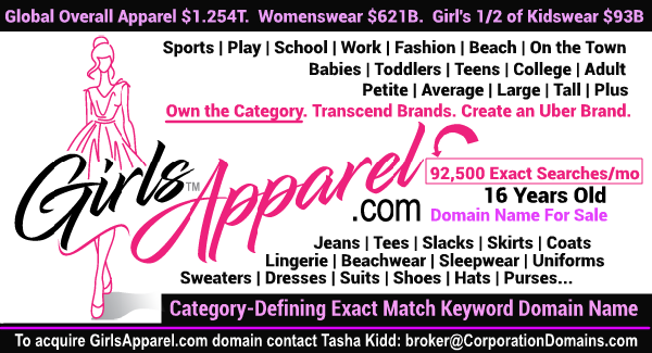 GirlsApparel.com domain name for sale in category-defining market for girls apparel in ecommerce