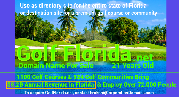 GolfFlorida.net domain name for sale for golf course or golf pro