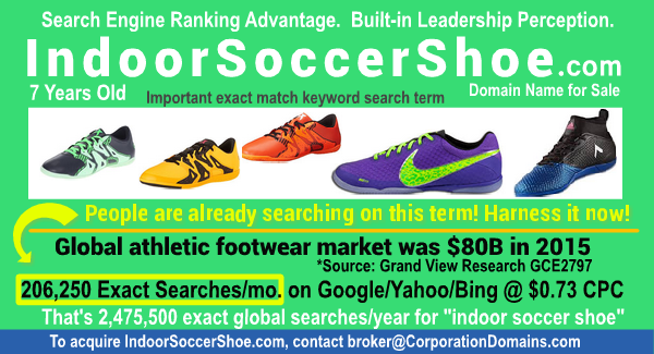 Indoor soccer shoe ecommerce domain name for sale: IndoorSoccerShoe.com