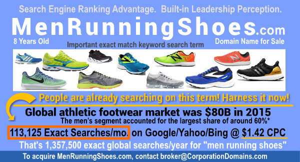 Running Shoes for Men: MenRunningShoes.com Domain Name for Sale