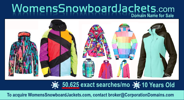 WomensSnowboardJackets.com domain name for sale in winter sports snowboard apparel markets