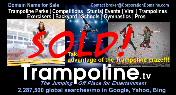 Trampoline.tv domain name for sale for trampoline parks or buyers